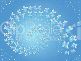 Spiral of flying butterflies on a blue