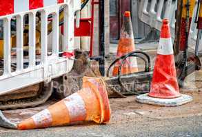 Road works. Classic signs and cones