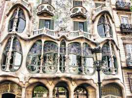 BARCELONA, SPAIN - MAY 24: Casa Batllo Facade. The famous buildi
