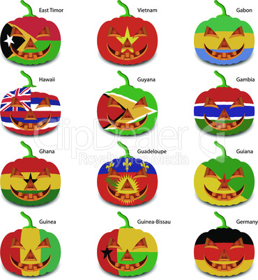 pumpkins for Halloween as a flags