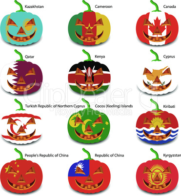 Set pumpkins for Halloween as a flags