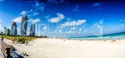 Skyline and seascape of Miami as seen from South Pointe Park on