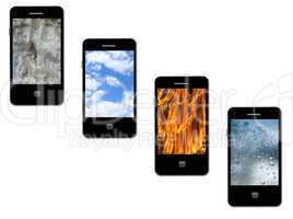 mobile phones with different elements on the white