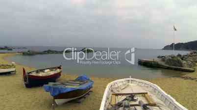Drone Aerial Retro Wooden Fishing Boats
