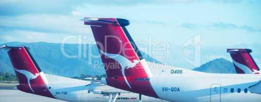 AYERS ROCK, AUSTRALIA - JULY 15: Aircrafts of the Qantas fleet a
