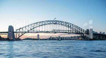Magnificent Harbour Bridge in Sydney at dusk
