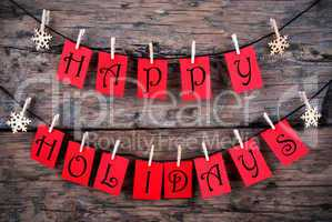 Happy Holidays Greetings on a Line