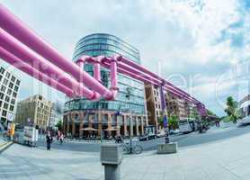 BERLIN - MAY 23: pink pipes at Potsdamer Platz on May 23, 2012 i
