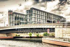 BERLIN - MAY 27, 2012: Tourists visit the modern buildings in Bu