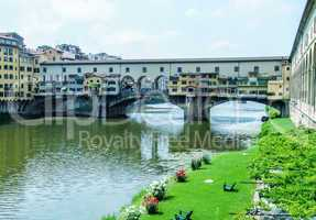 Old Bridge and Arno river on a beautiful summer day - Florence,