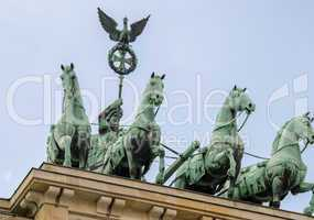 Quadriga landmark over Brandenburger Tor, Berlin