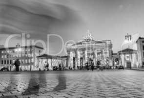 Brandenburg Gate at night from Pariser Platz, Berlin