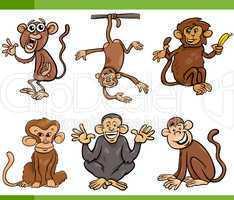 monkeys cartoon set illustration