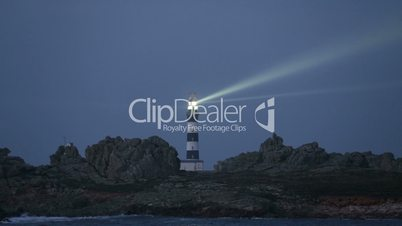 Very powerful lighthouse illuminated in evening