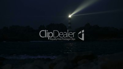 Very powerful lighthouse illuminated in night