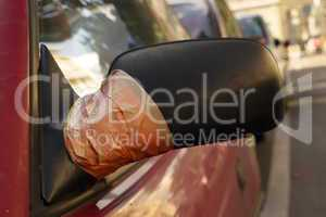 Damaged rearview mirror repaired