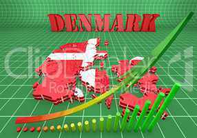 map illustration of Denmark with flag