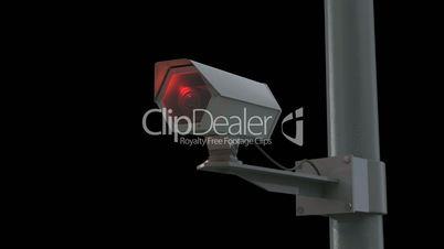 Observation camera in front of black background // 3D Visualisation