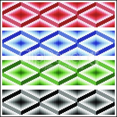 Set of four seamless rhombic patterns
