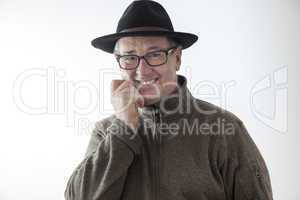 Joyous man with hat