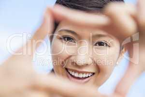 Chinese Asian Woman Girl Making Finger Frame