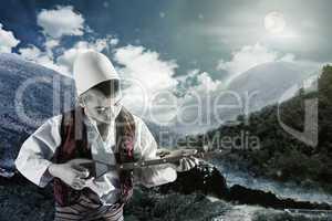 kid playing string instrument