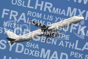 Flugzeug startet mit Flughafen Namen