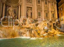 Beautiful night lights of Fontana di Trevi - Rome, Trevi Square