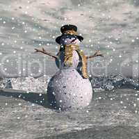 Snowman by snowing evening - 3D render