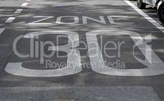 Speed limit thirty zone