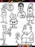 people set cartoon coloring page