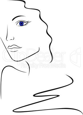 Sketch contour of woman head