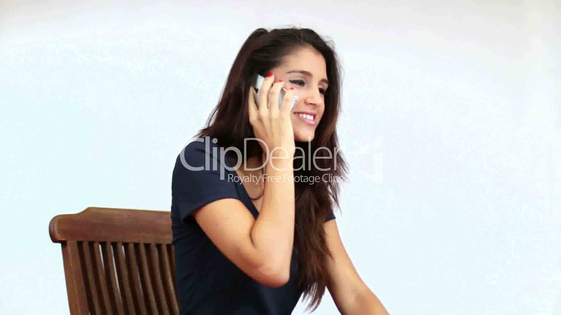 Mediterranean Girl Chatting On The Phone Royalty-Free -9522