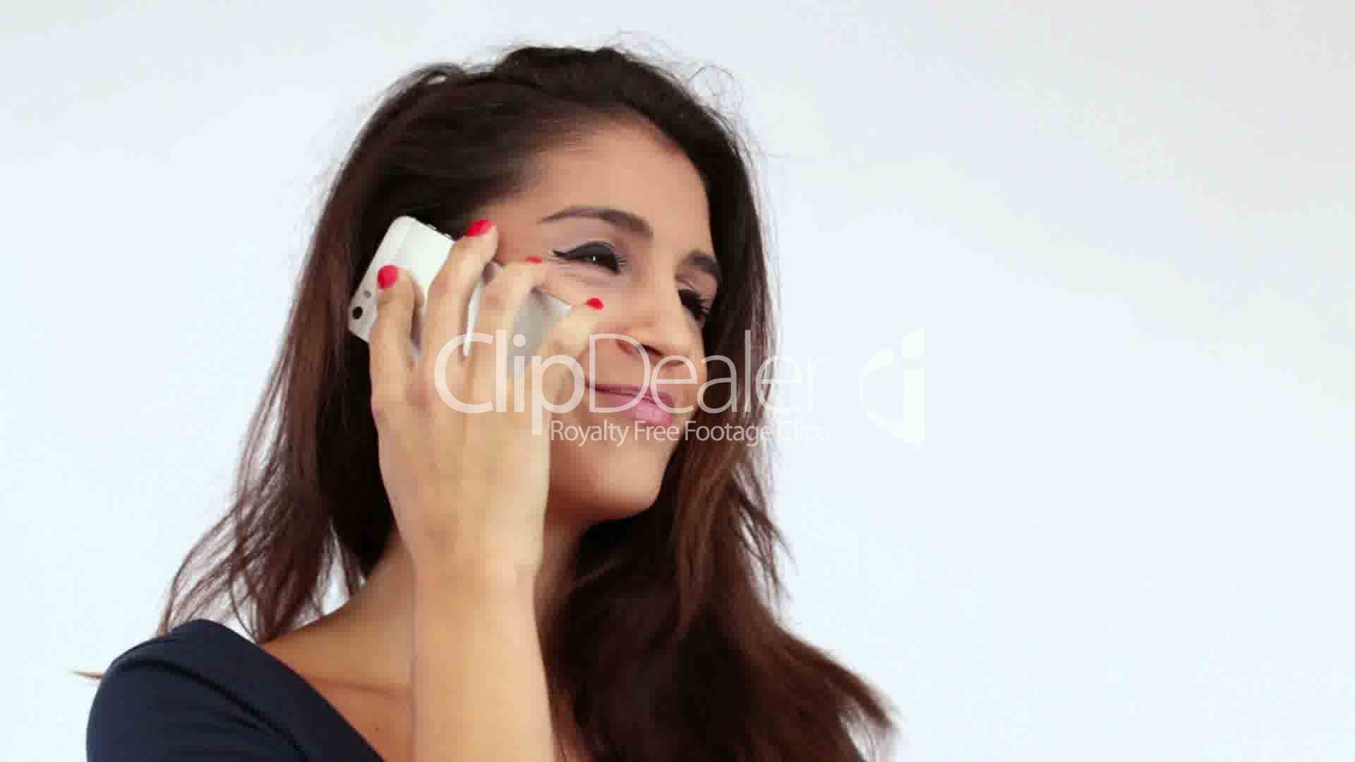 Young Mediterranean Girl Chatting On The Phone Royalty -1028