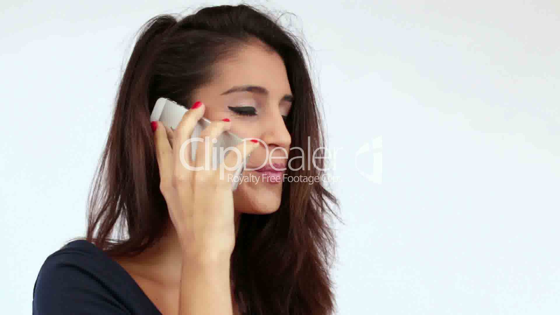 Young Mediterranean Girl Chatting On The Phone Royalty -3858