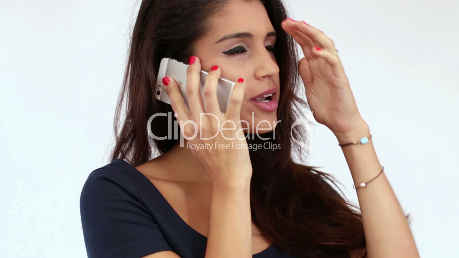 Young Mediterranean Girl Chatting On The Phone Royalty -5624
