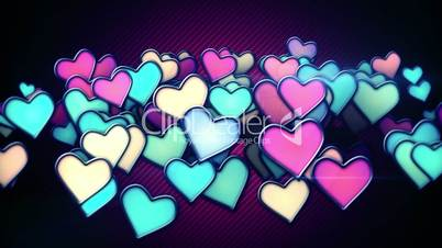 glowing colorful hearts loop background