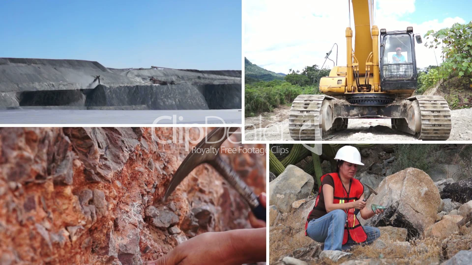 mining process and activity collage  royalty