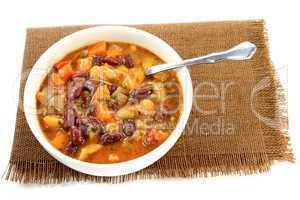 White and Red Kidney Beans Soup with herbs and seasonings