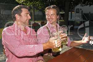 Two Bavarians sitting in a beer garden