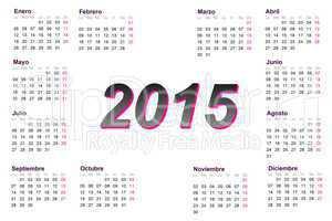 European spanish 2015 year calendar