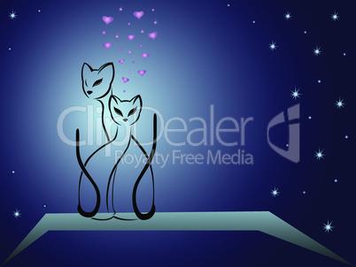 Enamoured cats against dark blue night sky