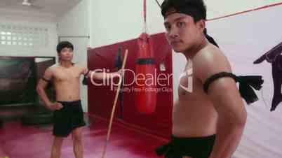 17of20 Asian man training, kickboxing gym, teacher, fighter, combat school
