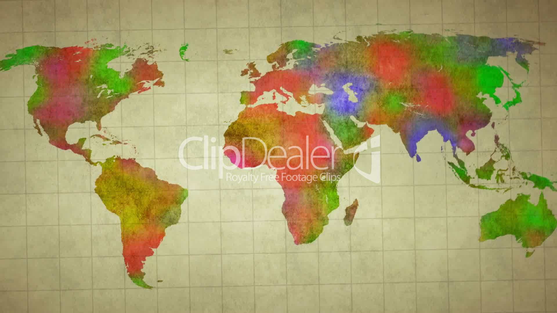 Watercolor world map animation royalty free video and stock footage clips watercolor world map animation royalty free publicscrutiny Image collections