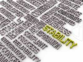 3d imagen Stability concept word cloud background. Stability Net