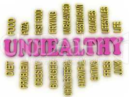 3d imagen Unhealthy concept word cloud background