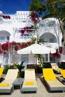 Building of hotel in traditional Greek style, Santorini island,