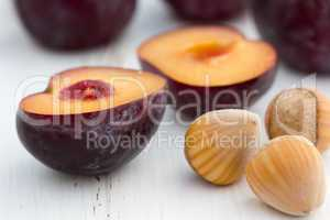 Plums and hazelnuts