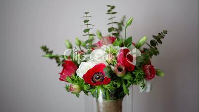 beautiful wedding bouquet on gray background