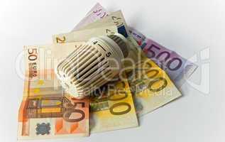 Thermostat, Geldschein, Banknote, Heizkosten